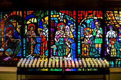 Stained Glass and Candles Royalty Free Stock Image