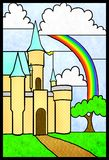Stained Glass Castle. Castle and rainbow stained glass window Royalty Free Stock Photos