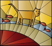 Stained glass cat. Stained glass window of cat and fish Stock Photography