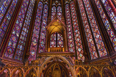 Stained Glass Cathedral Altar Arch Sainte Chapelle Paris France Stock Photos
