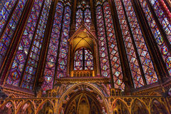 Stained Glass Cathedral Altar Arch Sainte Chapelle Paris France Royalty Free Stock Photos