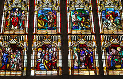 Stained glass in the cathedral in Bayeux. Normandy  France Royalty Free Stock Photography