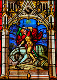 Stained Glass in the Cathedral of Bayeux Stock Images
