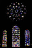Stained glass in a cathedral. Beautiful stained glass in a gothic cahedral Stock Photo