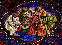 Stained Glass in the Cathedral of Leon, Spain Royalty Free Stock Photos