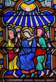 Mary and the Apostles at Pentecost - Stained Glass. Stained Glass in the Cathedral of Monaco depicting Mary and the Apostles at Pentecost stock image