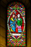 Moses and Aaron - Stained Glass. Stained Glass in the Cathedral of Monaco depicting Moses and Aaron royalty free stock photography