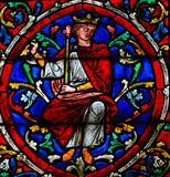 Stained Glass in Notre Dame, Paris of King Solomon. Stained Glass in the Cathedral of Notre Dame, Paris, France, depicting King Solomon as part of the Tree of royalty free stock images