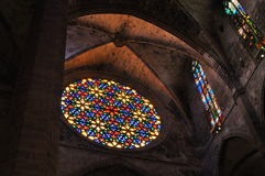 Stained-glass in Cathedral of Palma de Mallorca. Spain Royalty Free Stock Photos