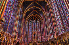 Stained Glass Cathedral Sainte Chapelle Paris France. Stained Glass Cathedral Saint Chapelle Paris France.  Saint King Louis 9th created Sainte Chapelle in 1248 Royalty Free Stock Photo
