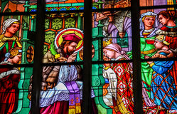 Stained glass in Cathedral of St. Barbara, Czech Republic Stock Photography
