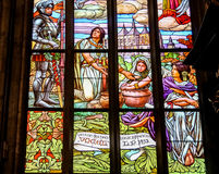 Stained glass in Cathedral of St. Barbara, Czech Republic Stock Images