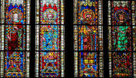 Stained Glass in Cathedral of Strasbourg, France Stock Photography