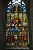 Stained glass cathedral window Ghent Stock Image