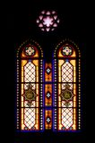 Stained glass of catholic church royalty free stock photo