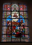 Stained glass in a Catholic church. Bruges, Belgium royalty free stock photos