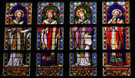 Stained Glass of Catholic Saints in Den Bosch Cathedral Stock Images