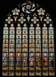 Stained Glass - Catholic Saints. Stained Glass window depicting Catholic Saints in the Cathedral of Saint Bavo in Ghent, Flanders, Belgium Stock Photos