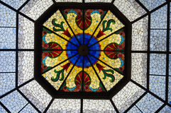 Stained glass ceiling inside Indianapolis Capital building. Colorful stained glass ceiling inside Indianapolis Capital building Royalty Free Stock Photos
