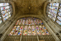Stained Glass and Ceiling in Kings College Chapel Royalty Free Stock Photos