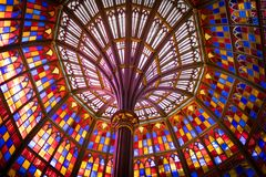 Stained glass ceiling in Louisiana Old State Capitol Building royalty free stock image