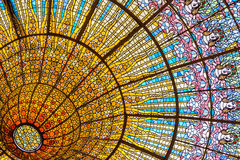 Stained glass ceiling of Palace of Catalan Music Royalty Free Stock Images