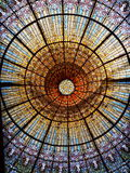 Stained glass ceiling. At Palau de la Musica Catalanan Stock Images