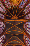 Stained Glass Ceiling Sainte Chapelle Cathedral Paris France Stock Photos
