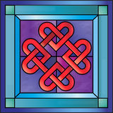 Stained glass Celtic hearts. Stained glass with Celtic hearts Royalty Free Stock Image