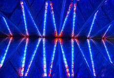 Stained Glass Chapel Ceiling at the United States Air Force Academy Chapel at Colorado Springs. The symmetric and multi colored ceiling at the Air Force Academy stock photo