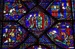 Stained Glass of Charlemagne at Chartres Cathedral. Stained Glass window depicting Charlemagne in the Cathedral of Our Lady of Chartres, France Royalty Free Stock Photography
