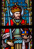 Stained Glass - Charlemagne. Stained Glass in the Church of Our Blessed Lady of the Sablon in Brussels, Belgium, depicting Charlemagne Stock Photography