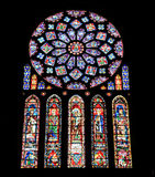 Stained glass from Chartres Cathedral. Gothic window from 13th Century. France Series Stock Images