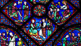 Stained Glass at Chartres Cathedral Royalty Free Stock Photography