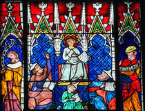 Stained Glass - Christ among the Doctors Stock Photo