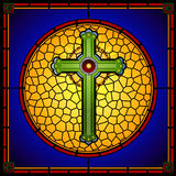 Stained glass christian cross square panel Stock Photos