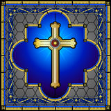 Stained glass christian cross window panel Royalty Free Stock Image