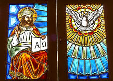 Stained glass with Christian figure. Picture of Stained glass with Christian figure stock photo