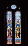 Stained glass - Catholic Church of Saints Cyril and Methodius - landmark attraction in Prague, Czech Republic. Stained glass in Catholic Church of Saints Cyril Stock Photos