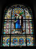 Stained glass in the church stock photos