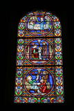 Stained glass church window. Details of colorful stained glass window in church Stock Images