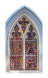 Stained-glass church window on background. Royalty Free Stock Images