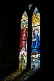 Stained glass church window. Colorful stained glass church mural Royalty Free Stock Photography