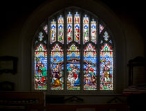 Stained Glass Church Window  Nativity Scene Royalty Free Stock Image