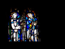 Stained glass church window. Royalty Free Stock Photo