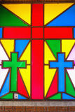 Stained glass in churches. Colour of stained glass in churches stock image