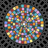 Stained glass circle. In circle with squares and rectangles Stock Photo