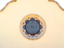 Stained glass circular window. Stained glass circular church window - lots of space left over royalty free stock photography