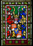 Stained Glass - Coat of Arms in Prague Cathedral. Stained Glass window in St. Vitus Cathedral, Prague, depicting a Coat of Arms stock photography