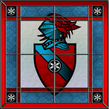 Stained glass coat of arms square window Royalty Free Stock Photo